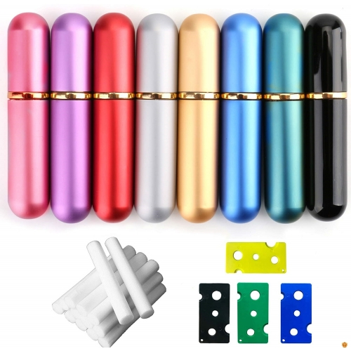 9 Colors Empty Aluminum Essential Oil Nasal Inhaler Refillable Aluminum and Glass - Metal Nasal Inhalers