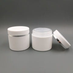 36pcs/lot 30g white plastic makeup cosmetic jar with silver ring,  empty double layer cream container with screw cap