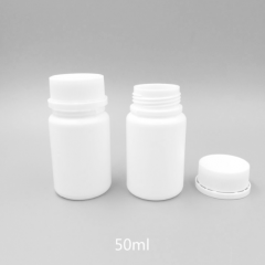 12pcs/lot 50ml 50cc HDPE Plastic White Empty Capsule container medical pill bottle with Tamper Proof Cap