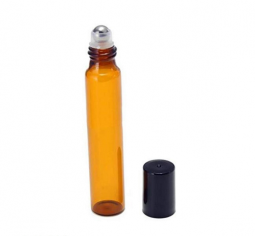 12pcs/lot 10ml Aromatherapy  amber glass roll on bottles for essential oil roller bottles with black cap
