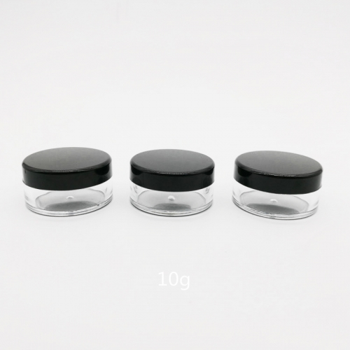 Free shipping 50pcs/lot 10g plastic clear jar with black cap,  plastic cosmetic makeup jar for skin care cream
