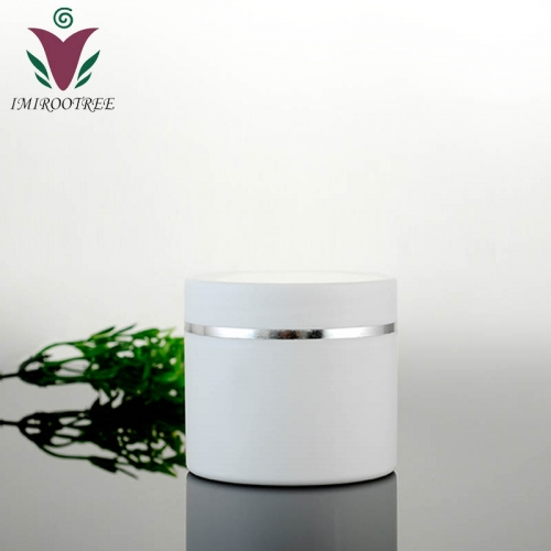 20pcs/lot 50g plastic white double layer cream jar with silver rim, empty makeup container for cosmetic packaging