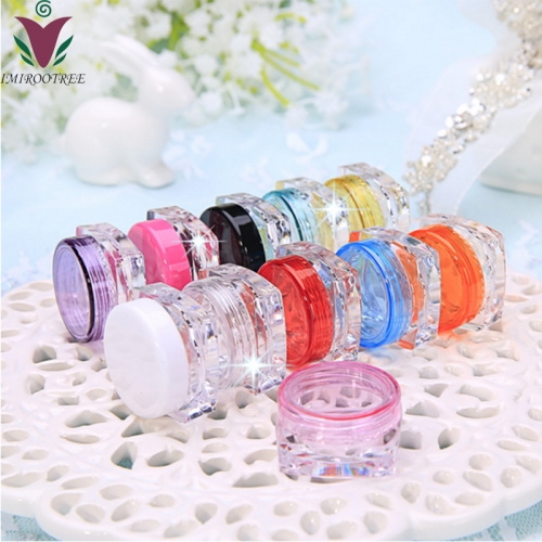 Free shipping 200pcs/lot 3g square mini jar , plastic empty cosmetic jar with screw cap