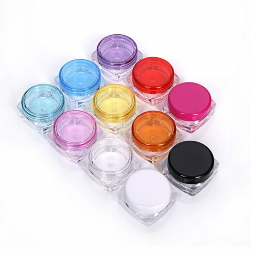 200pcs/lot 3g square cream container,  plastic empty small cosmetic jar with good quality