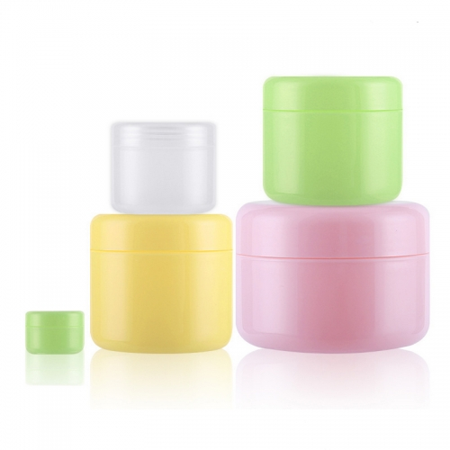 90pcs/lot 50g 50ml plastic jar with inner lids, plastic empty cosmetic containers for skin care cream