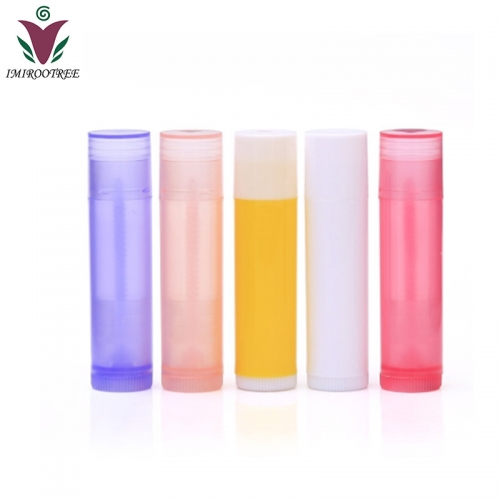 Free shipping 210pcs/lot 5ml empty lip balm tube containers with 6 colors, plastic lipstick tube for cosmetic packaging